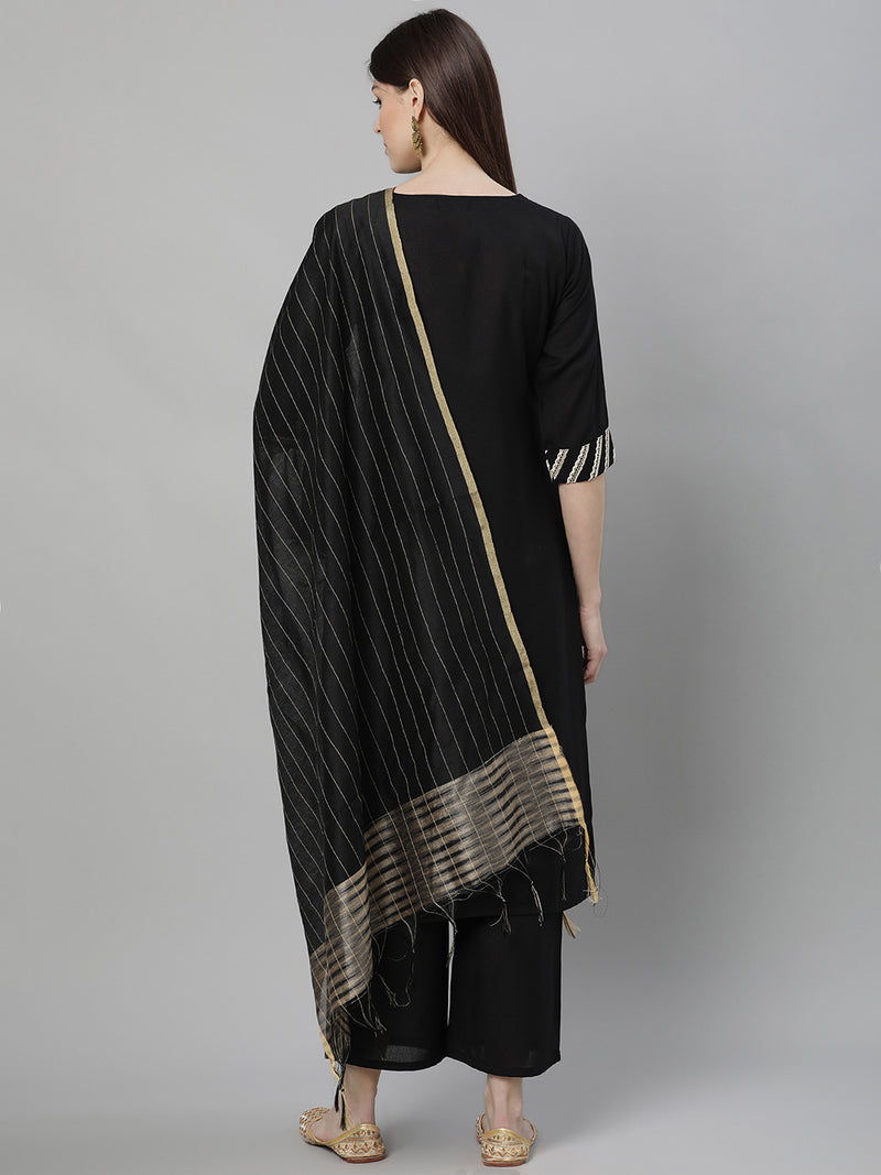 Black Cotton Solid Kurta With Palazzo And Silk Blend Woven Dupatta