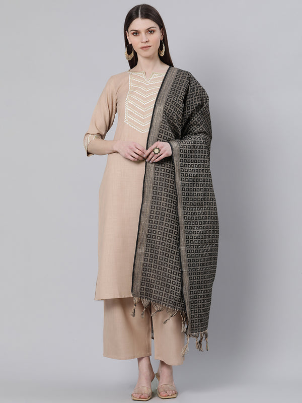 Beige Cotton Solid Kurta With Palazzo And Silk Blend Woven Dupatta
