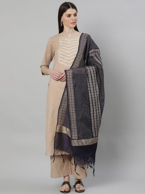 Beige Cotton Solid Kurta With Palazzo And Blue Silk Blend Woven Dupatta
