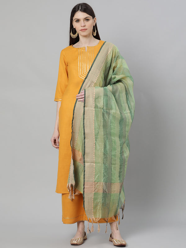Yellow Silk Solid Straight Kurta With Palazzo And Green Blend Woven Dupatta