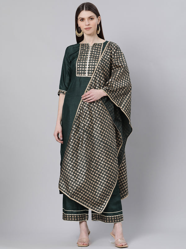Green Silk Solid Straight Kurta With Palazzo And Printed Dupatta