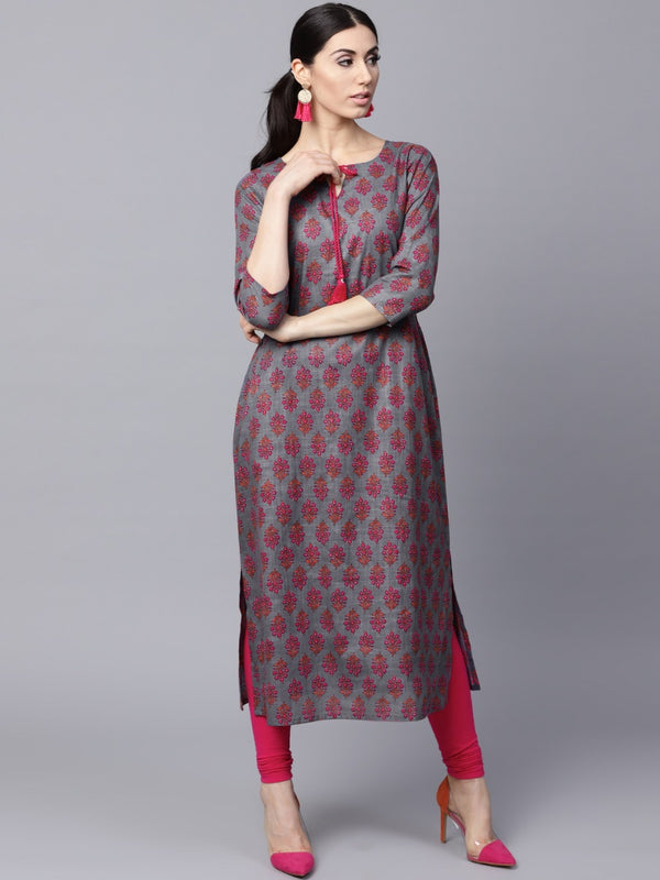 Grey Cotton Printed Aline Kurta