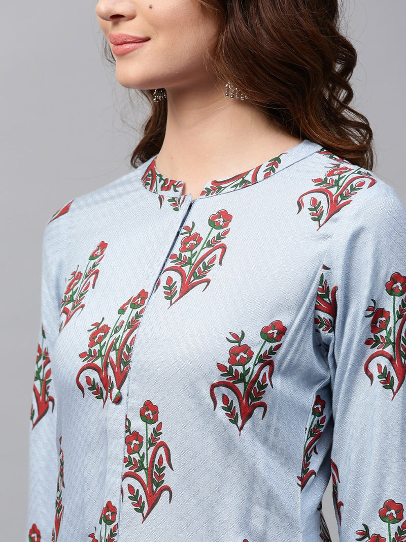 Blue Rayon Printed Straight Kurta