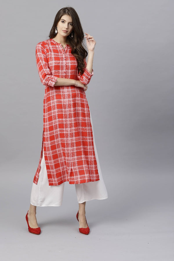 Red Rayon Checks Straight Kurta
