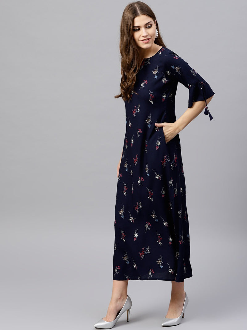 Navy Blue Rayon Printed Aline Dress