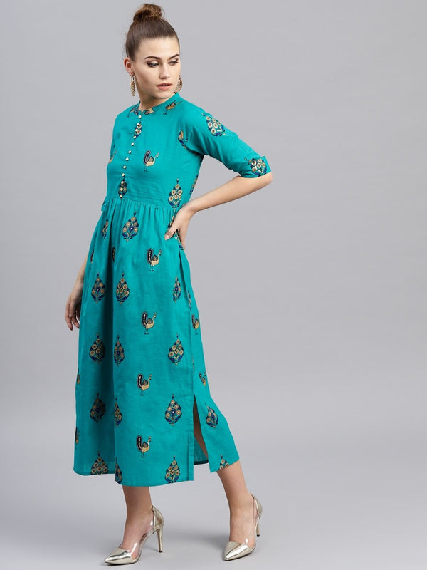 Blue Viscose Rayon Printed Flared Dress