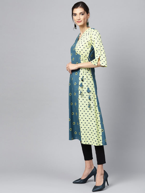 Blue Cotton Printed Aline Kurta