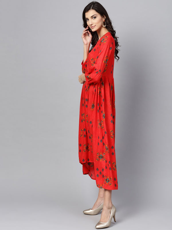 Red Rayon Printed Fit And Flared High Low Maxi Dress