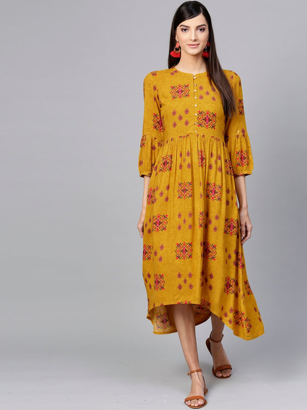 Yellow Rayon Printed High Low Maxi Dress