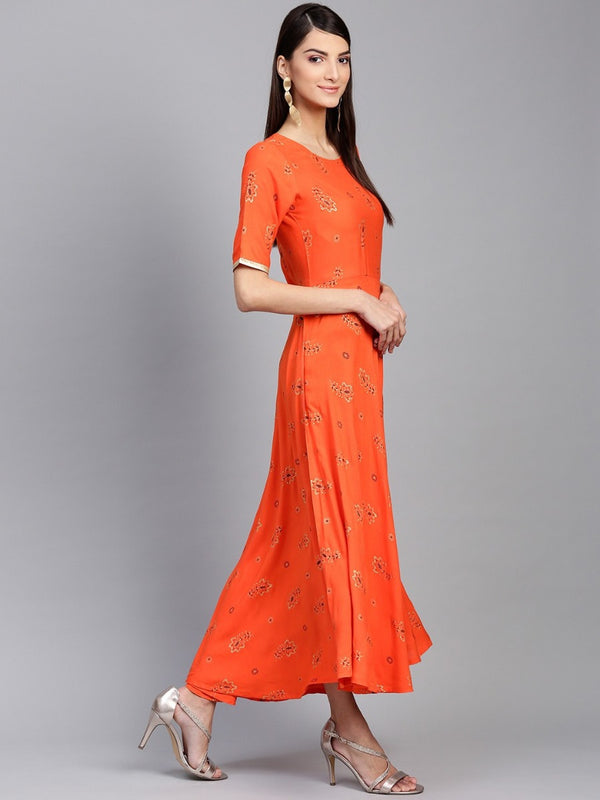 Orange Rayon Printed Aline Maxi Dress