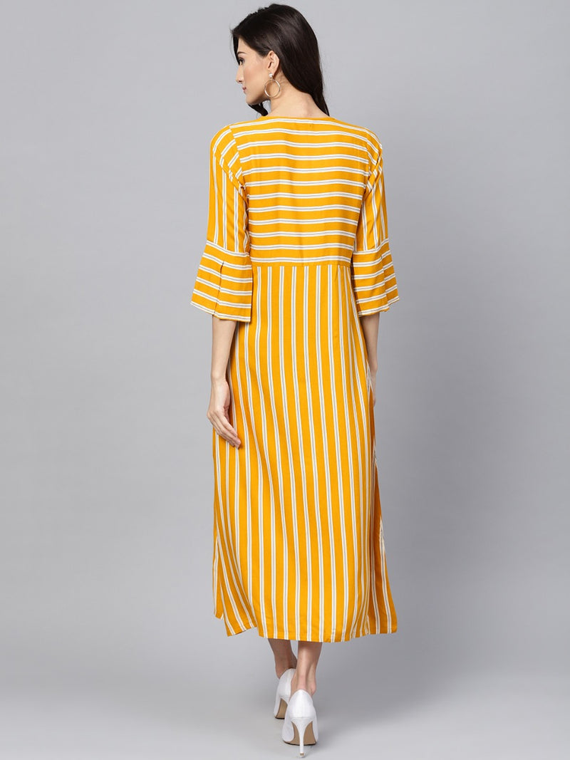 Yellow Striped Rayon Aline Maxi Dress