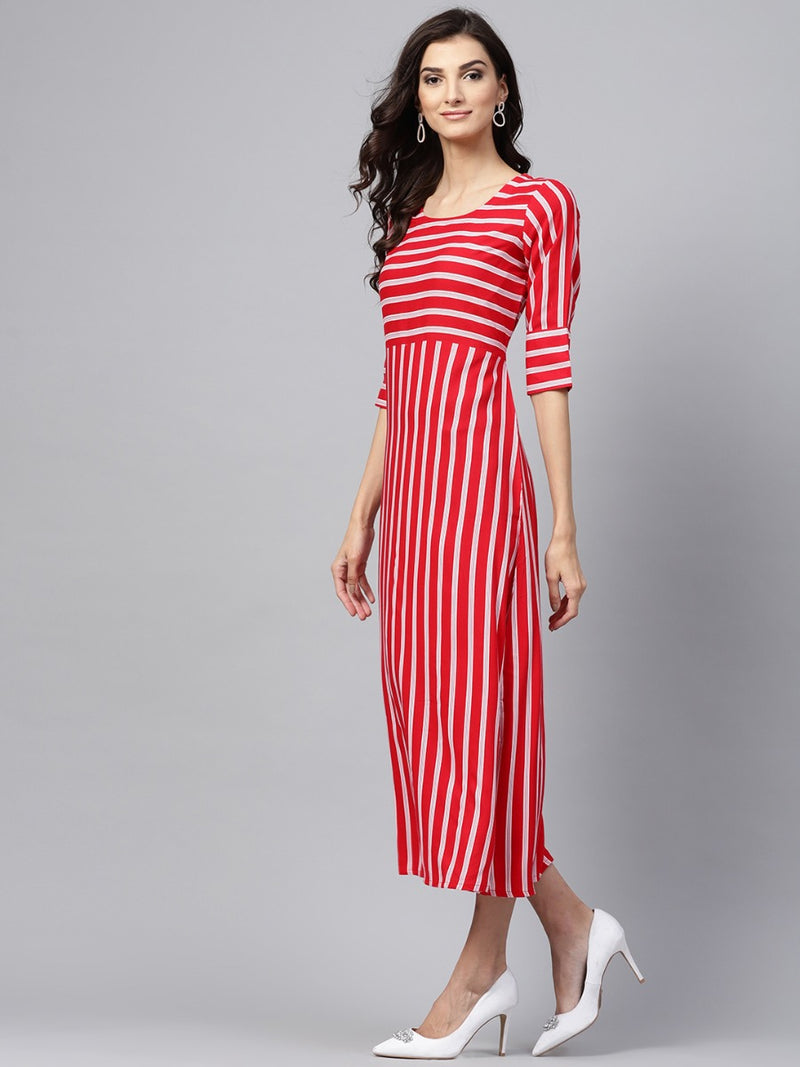 Red Striped Rayon Aline Maxi Dress