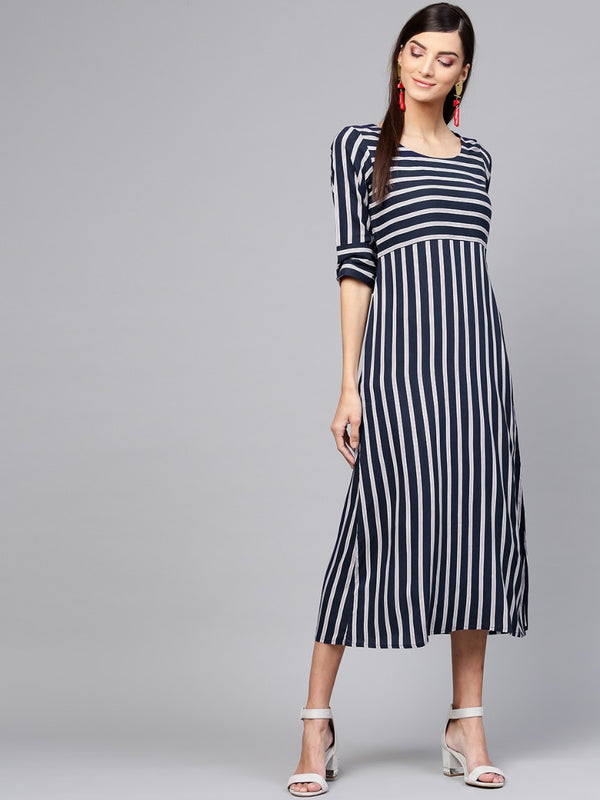Blue Striped Rayon Aline Maxi Dress
