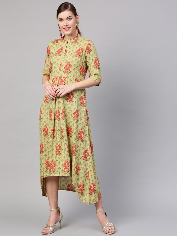 Green Rayon Printed High Low Maxi Dress