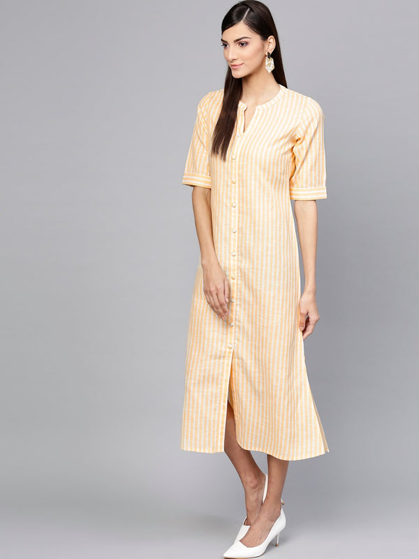 Yellow Striped Cotton Aline Maxi Dress
