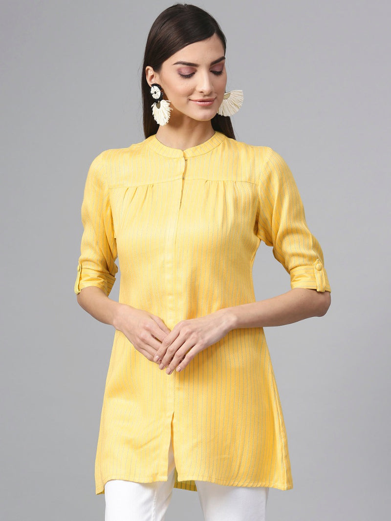 Yellow Rayon Striped Aline Kurti