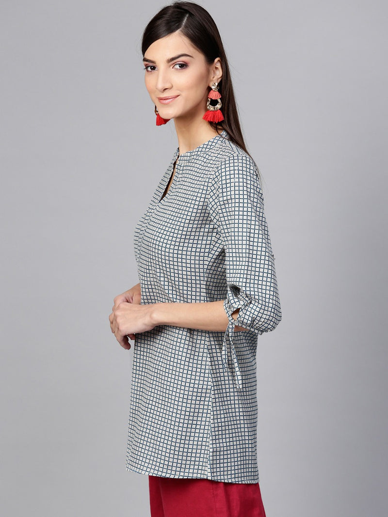 Grey Cotton Printed Aline Kurti