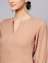Orange Checks Rayon Aline Kurti