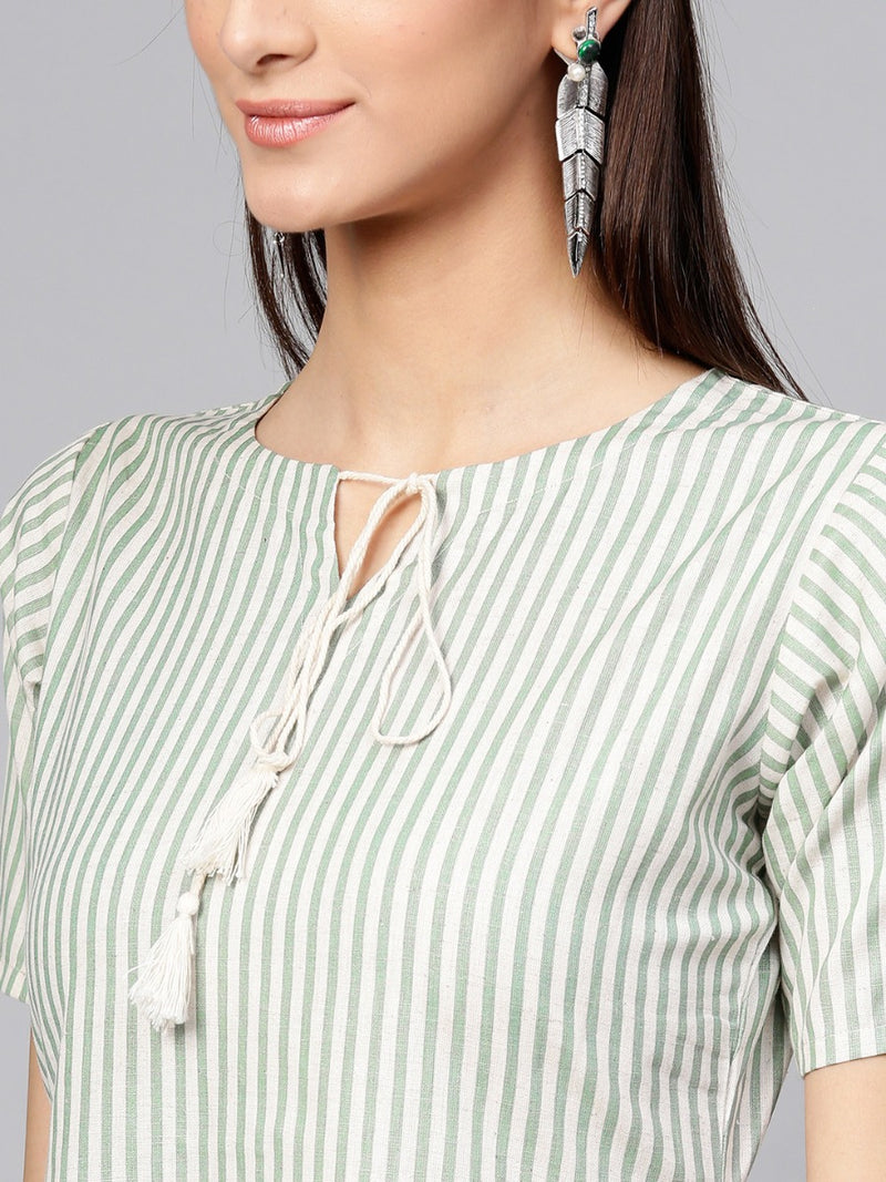 Green Striped Cotton Aline Kurti
