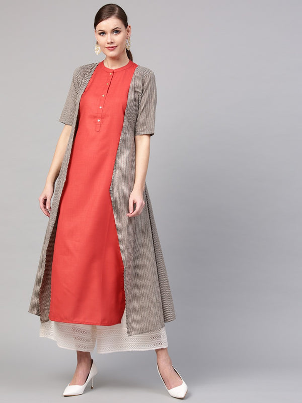 Rust Rayon Straight Kurta With Beige Striped Cotton Jacket