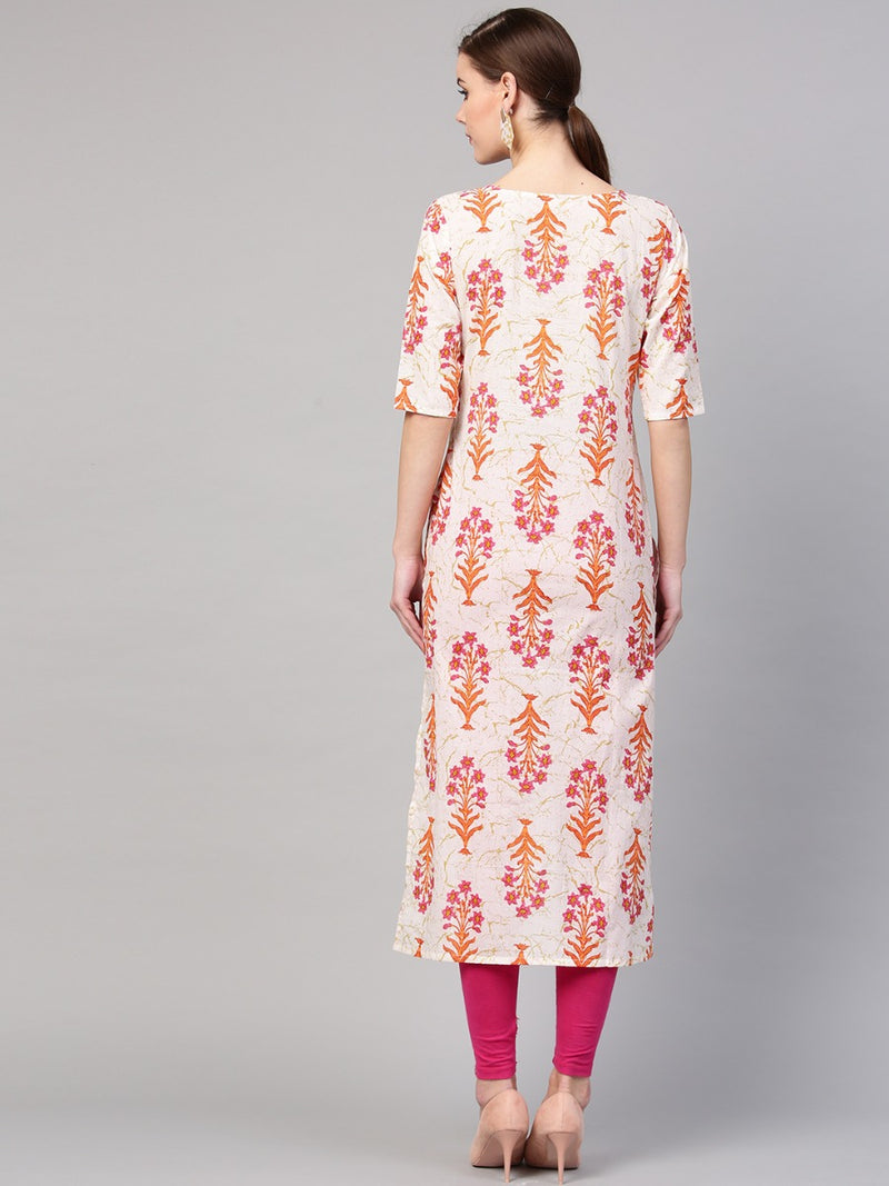 Multi Cotton Printed Straight Kurta