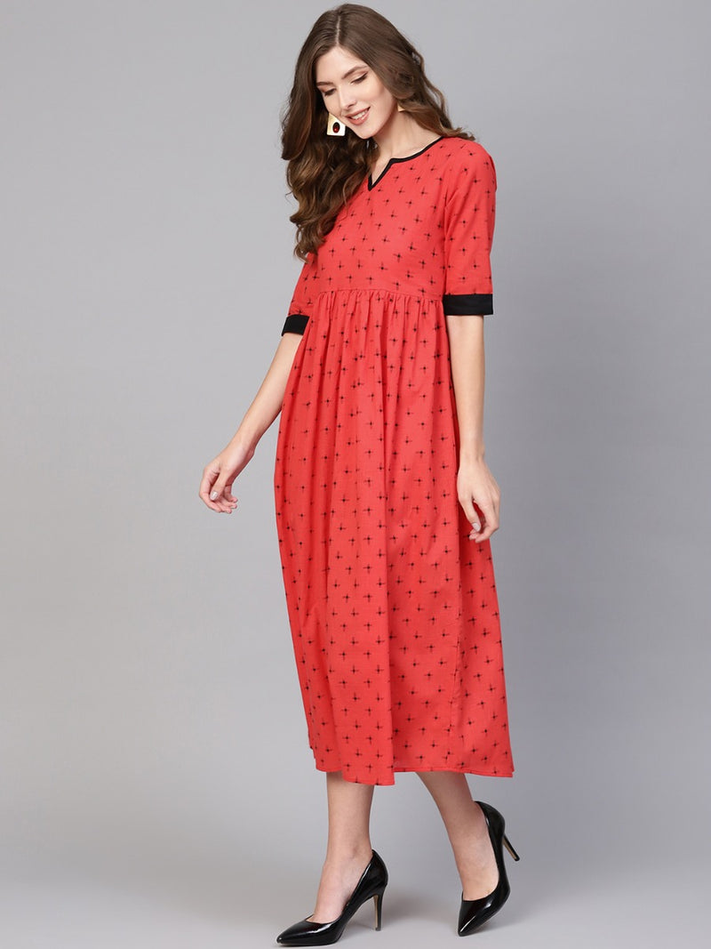 Red Cotton Printed Fit And Flared Maxi Dress