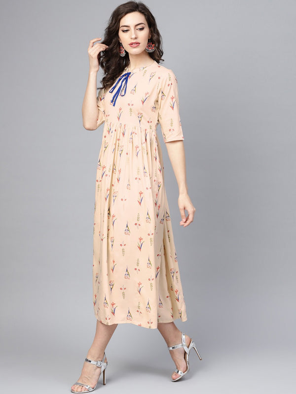 Beige Rayon Printed Fit And Flared Maxi Dress