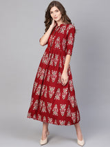 Maroon Rayon Printed Fit And Flared Maxi Dress