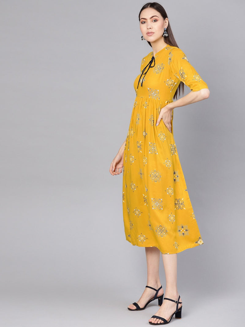 Yellow Rayon Printed Fit And Flared Maxi Dress