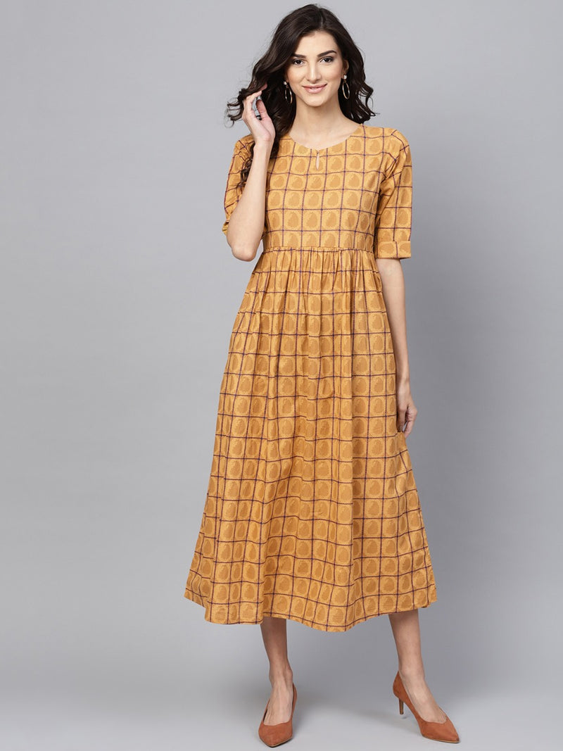 Yellow Cotton Checkered Aline Fit And Flared Maxi Dress