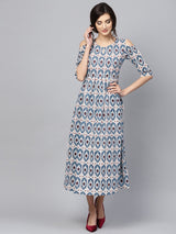 Multi Cotton Printed Aline Fit And Flared Maxi Dress