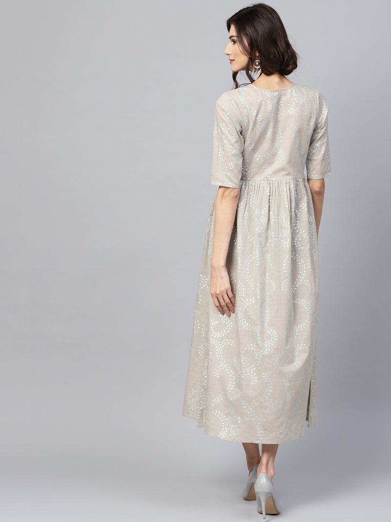 Grey Cotton Block Printed Aline Fit And Flared Maxi Dress