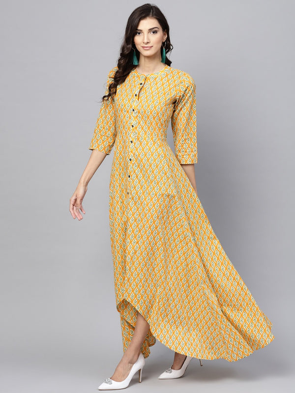 Yellow Cotton Printed Hig-Low Fit And Flared Maxi Dress