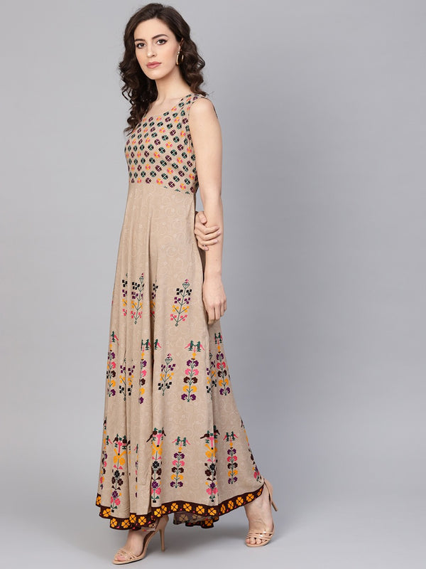 Multi Rayon Printed Anarkali Dress