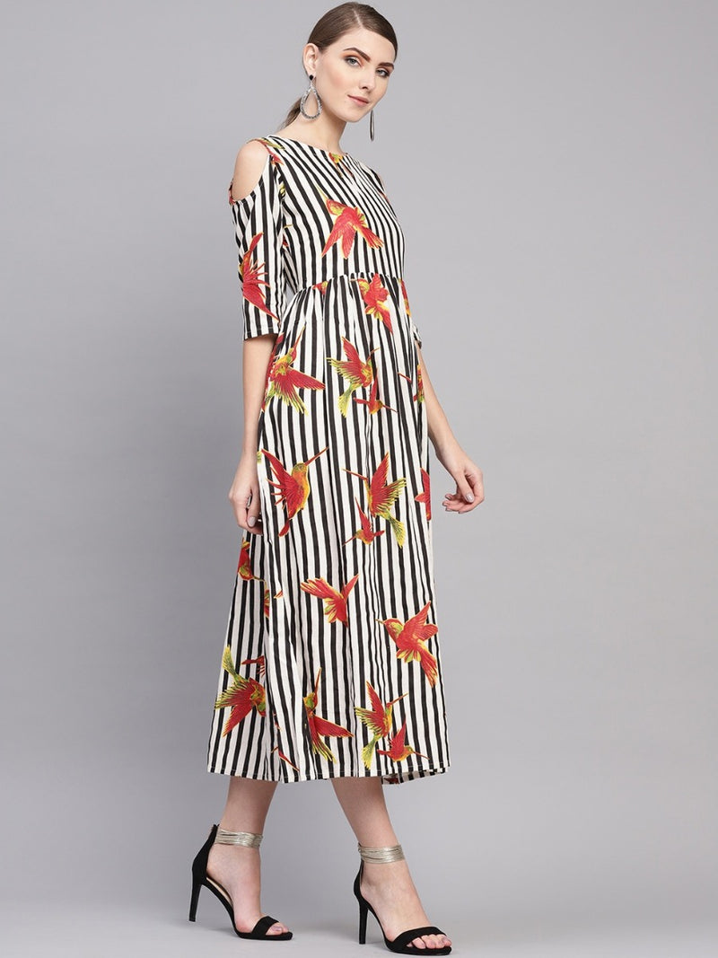 Multi Printed Cotton Aline Fit And Flared Maxi Dress