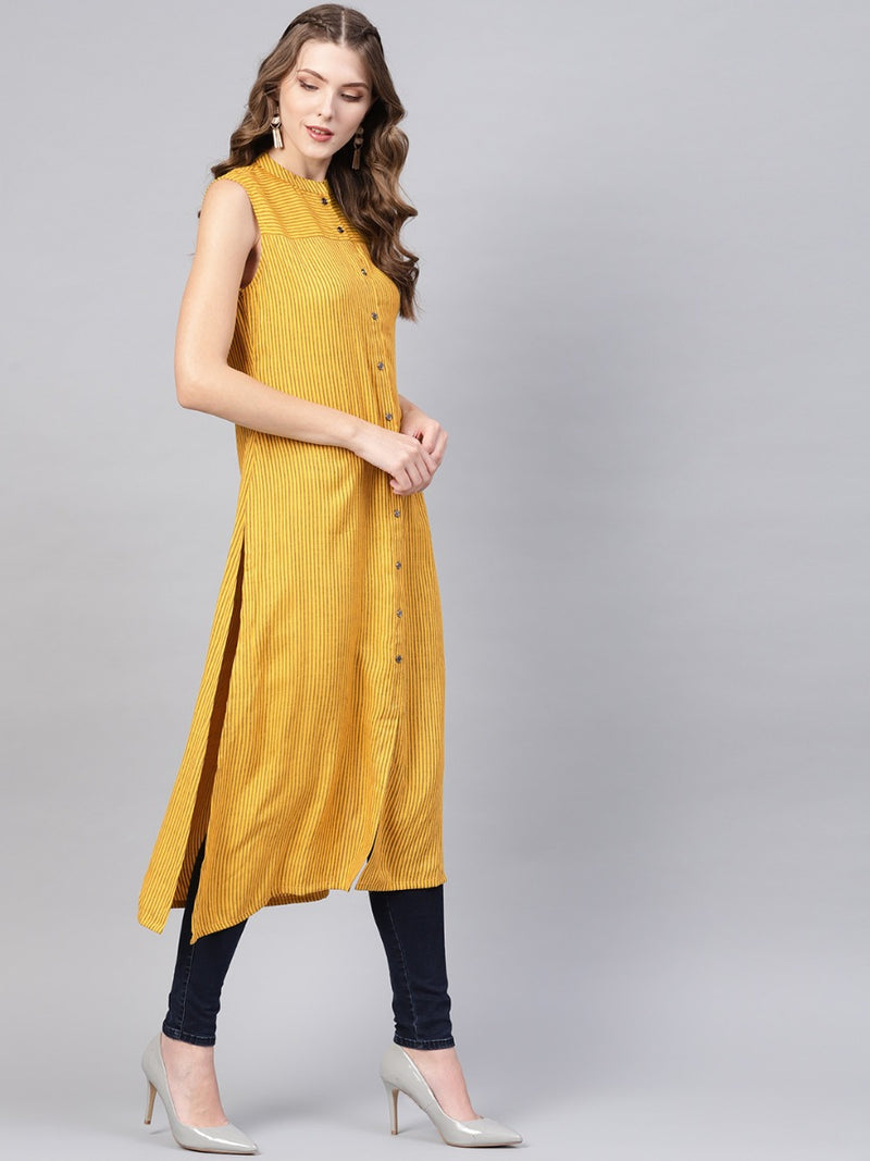 Yellow Rayon Striped Aline Kurta