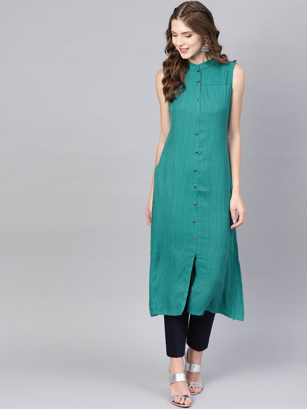 Green Rayon Striped Aline Kurta