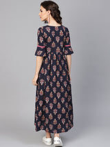 Blue Cotton Printed Fit And Flared Maxi Dress