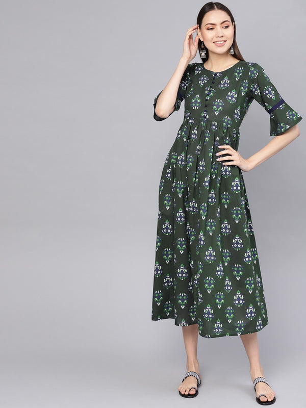Green Cotton Printed Aline Fit And Flared Maxi Dress
