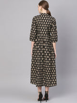 Black Cotton Block Printed Aline Fit And Flared Maxi Dress