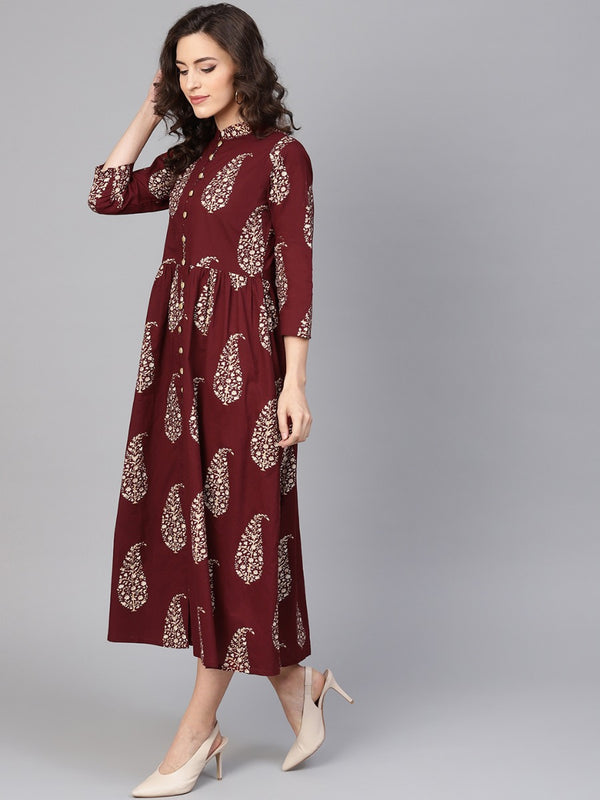 Maroon Cotton Block Printed Fit And Flared Maxi Dress
