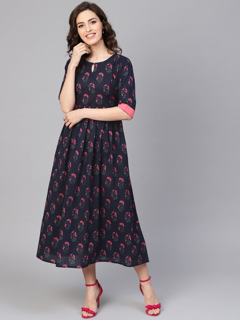 Blue Cotton Printed Aline Fit And Flared Maxi Dress