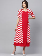 Red And White Rayon Printed Aline Layered Maxi Dress