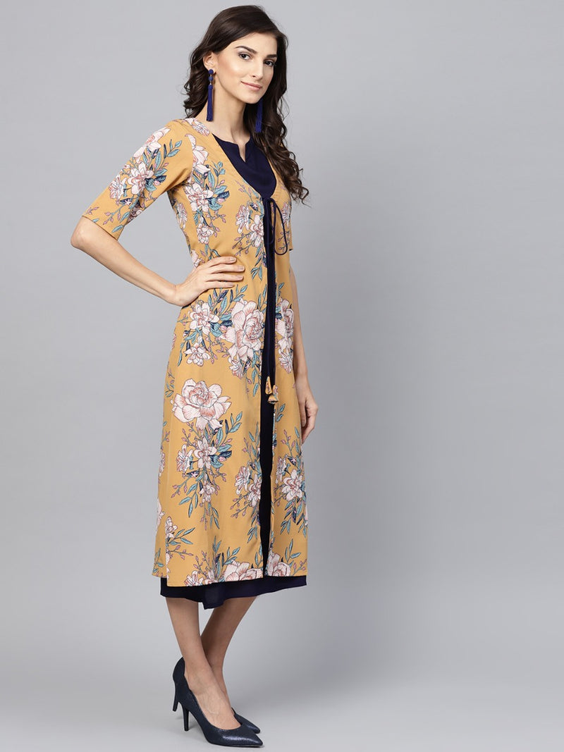 Yellow And Blue Rayon Printed Aline Layered Maxi Dress