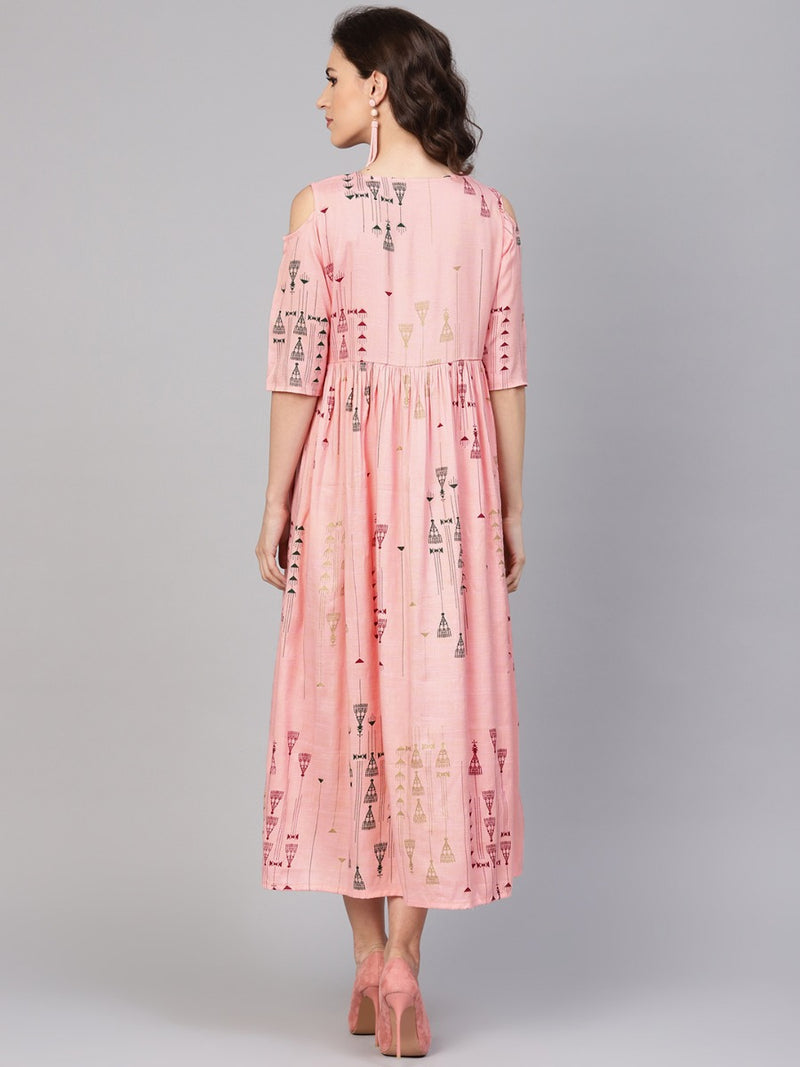 Pink Cotton Printed Fit And Flared Maxi Dress