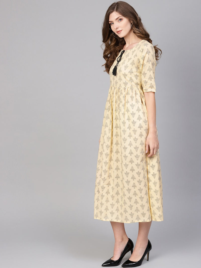 Beige Cotton Printed Fit And Flared Maxi Dress
