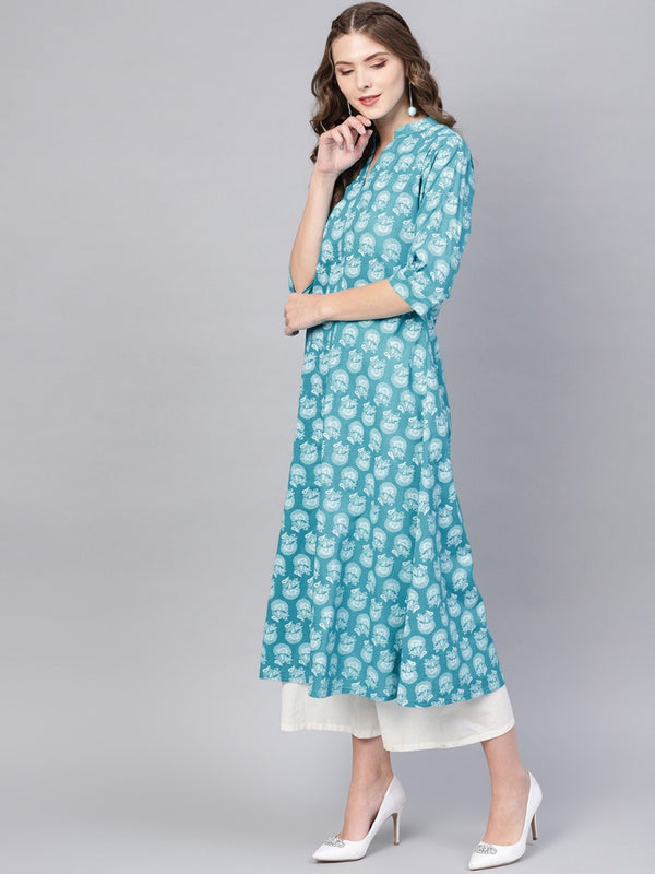 Blue Printed Cotton Aline One Side Pocket Kurta