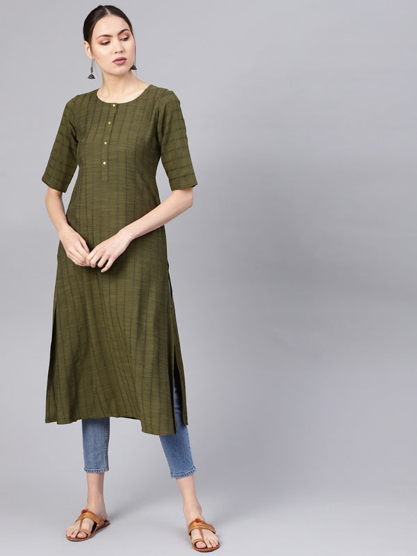 Green Rayon Self Striped Aline Kurta