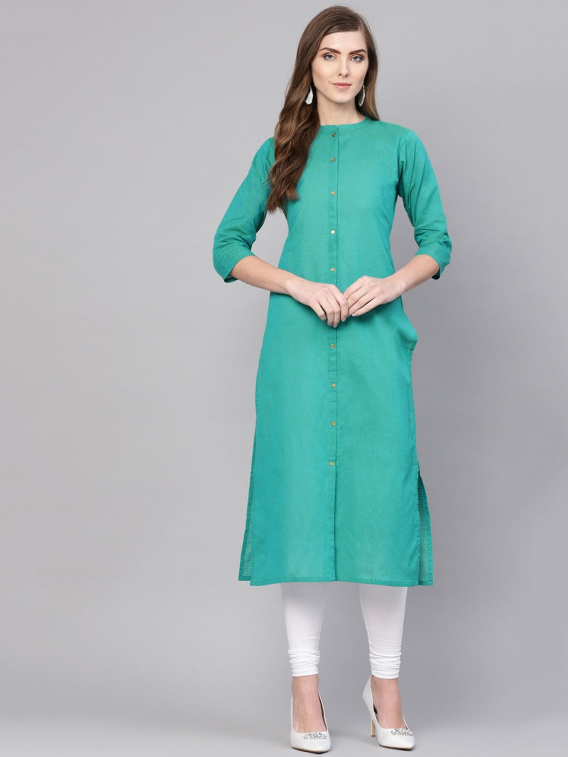 Green Cotton Self Design Staright Kurta