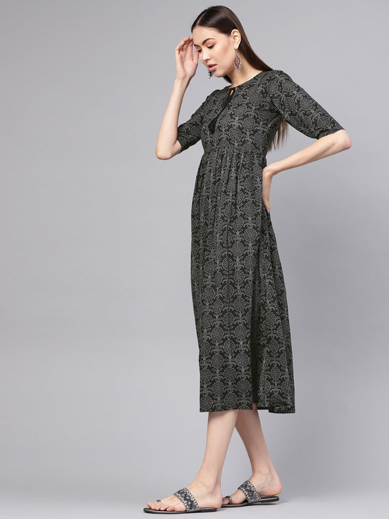 Black Cotton Printed Aline Fit And Flared Maxi Dress